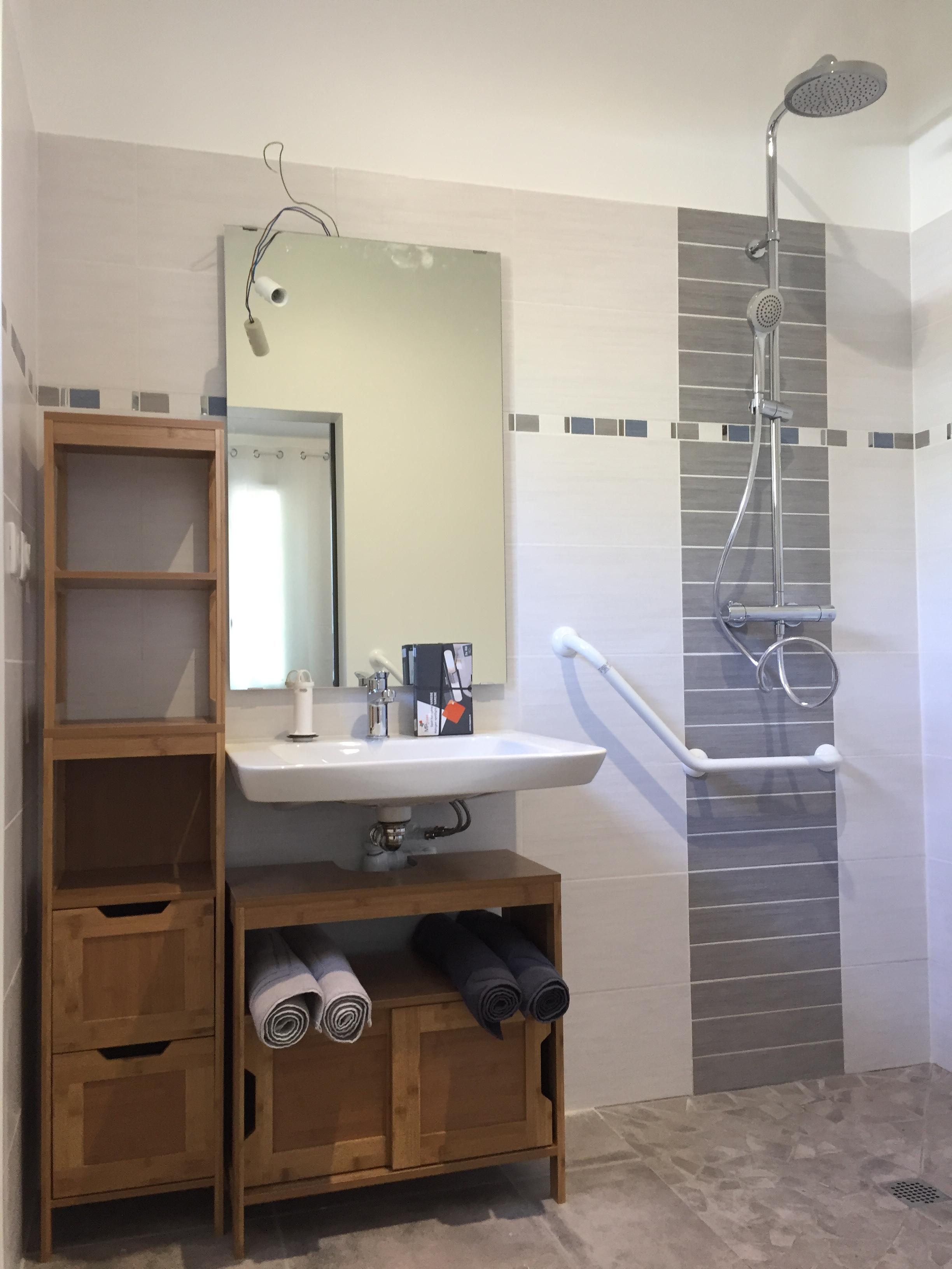 int rdc salle de douche et wc pmr portrait g te le clos meyval. Black Bedroom Furniture Sets. Home Design Ideas